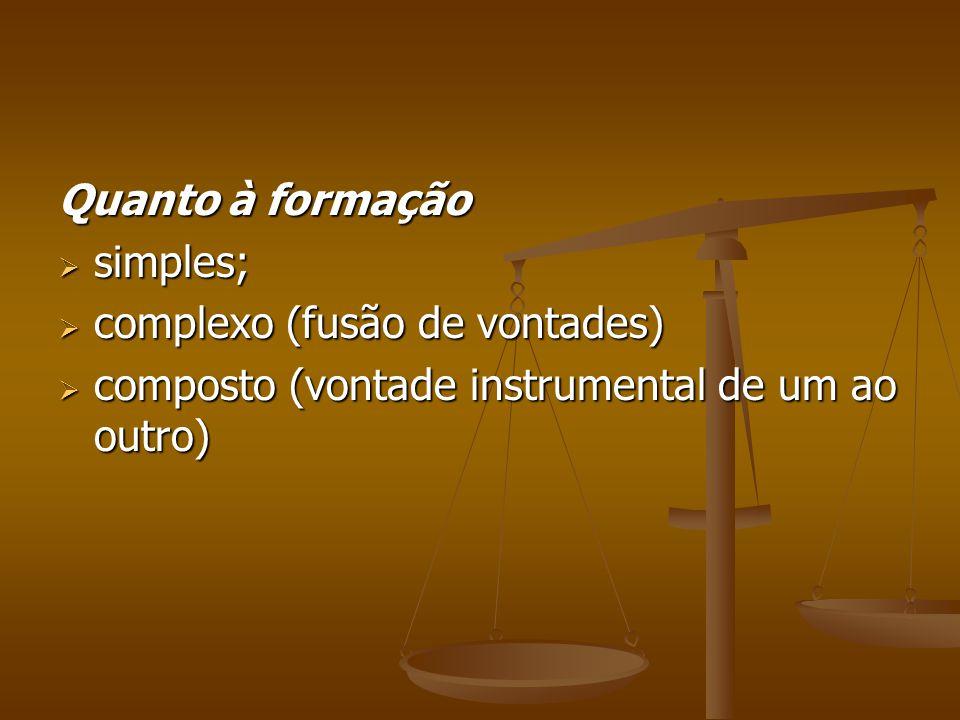 Quanto à formação simples; complexo (fusão de vontades) composto (vontade instrumental de um ao outro)