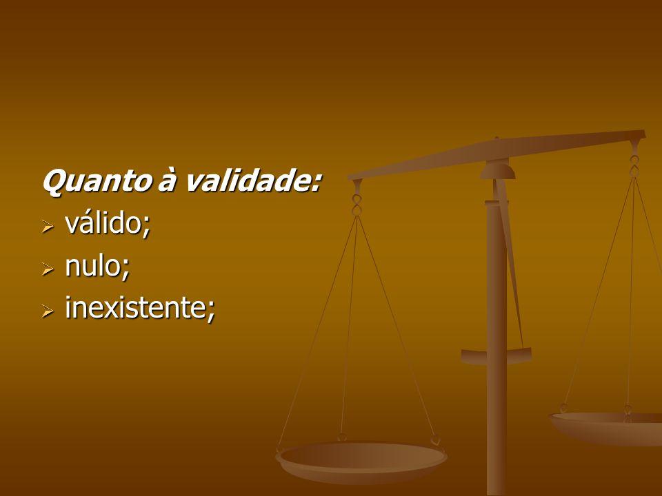 Quanto à validade: válido; nulo; inexistente;