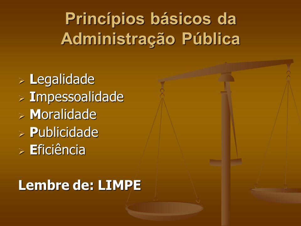 Princípios básicos da Administração Pública