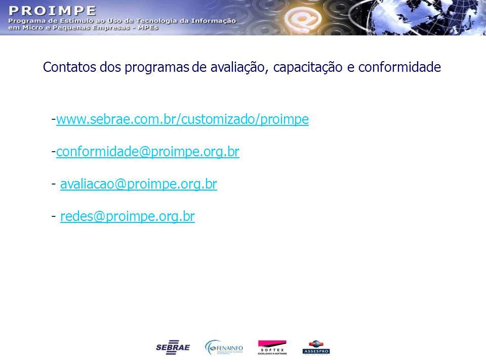 Contatos dos programas de avaliação, capacitação e conformidade