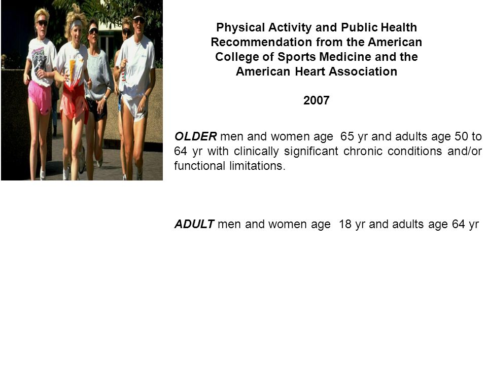 Physical Activity and Public Health Recommendation from the American