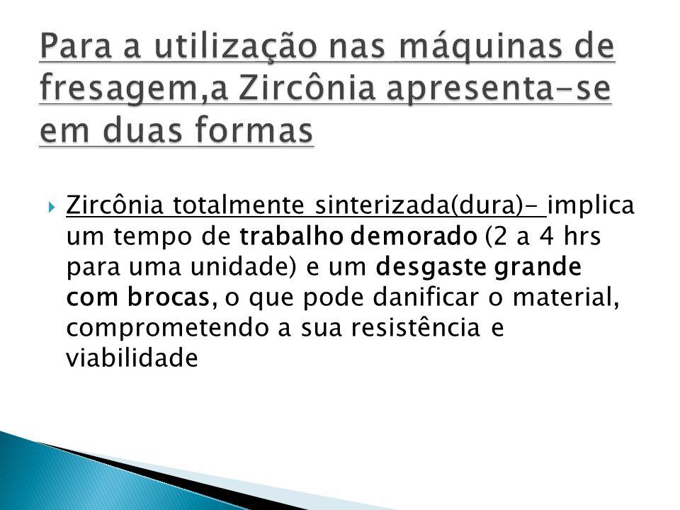 Para a utilização nas máquinas de fresagem,a Zircônia apresenta-se em duas formas