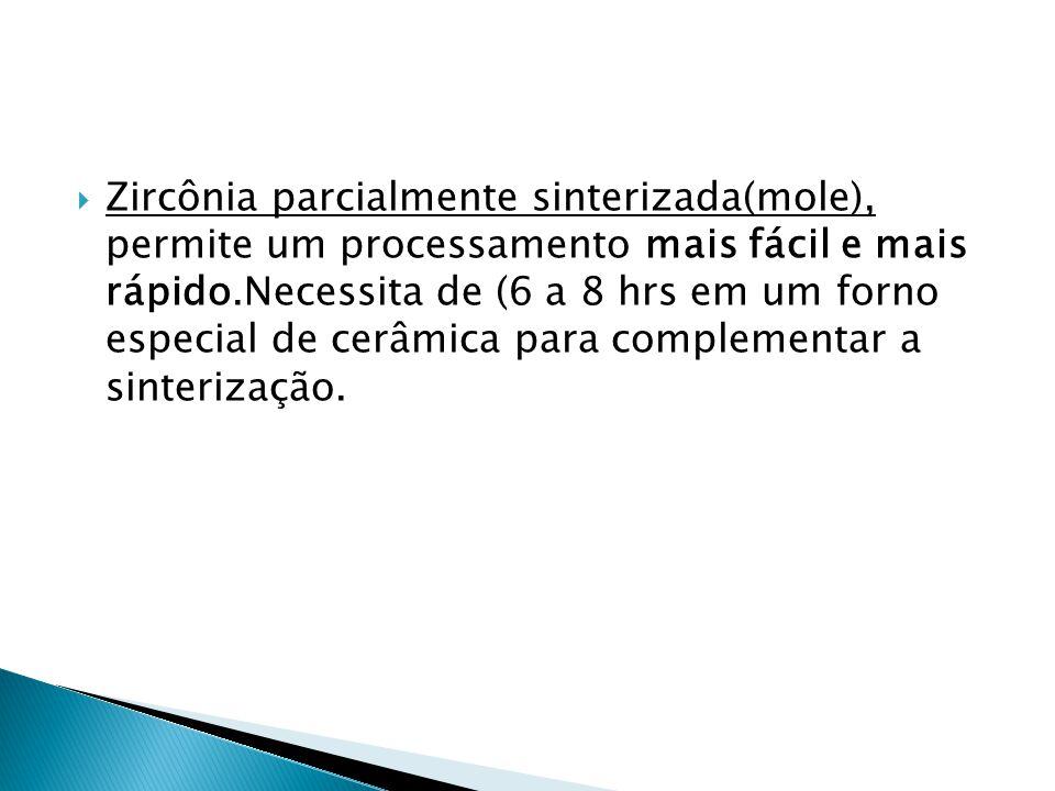 Zircônia parcialmente sinterizada(mole), permite um processamento mais fácil e mais rápido.Necessita de (6 a 8 hrs em um forno especial de cerâmica para complementar a sinterização.