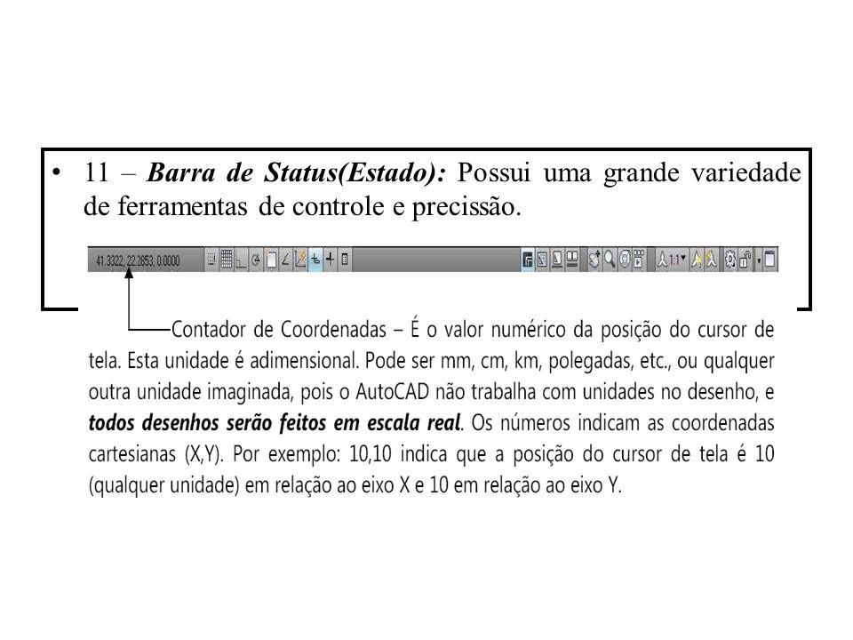 11 – Barra de Status(Estado): Possui uma grande variedade de ferramentas de controle e precissão.