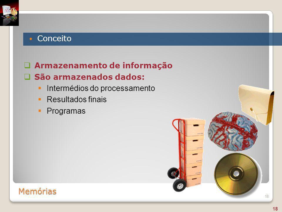 Armazenamento de informação São armazenados dados: