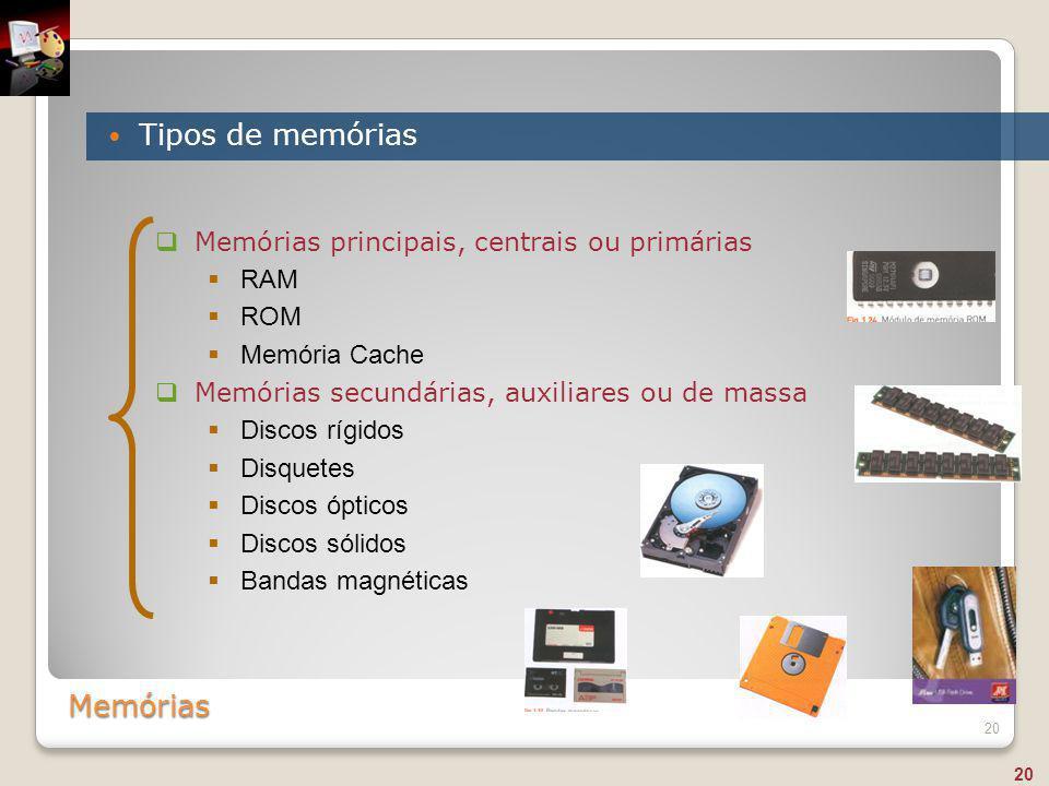 Tipos de memórias Memórias Memórias principais, centrais ou primárias