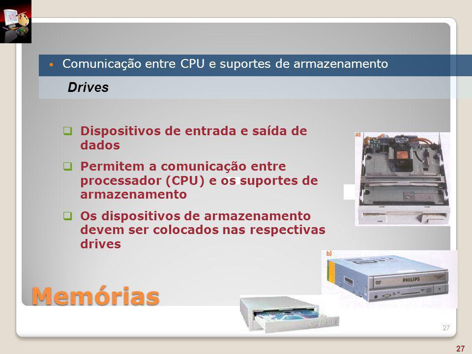 Memórias Drives Comunicação entre CPU e suportes de armazenamento