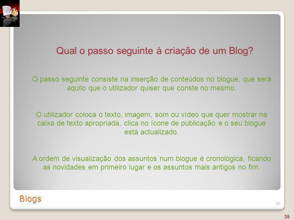 Qual o passo seguinte à criação de um Blog