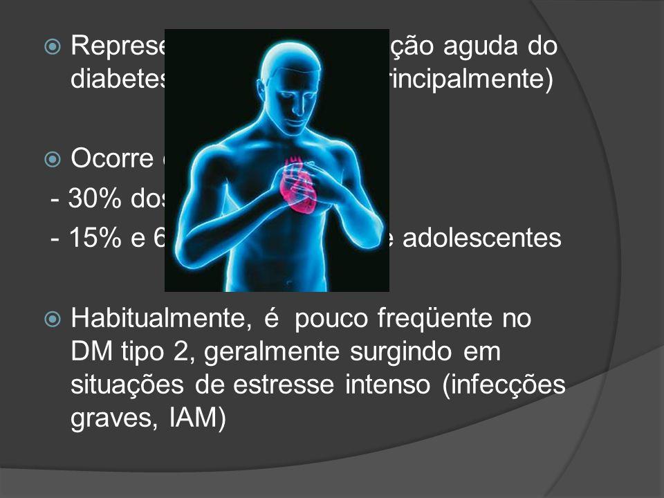 Representa uma complicação aguda do diabetes mellitus tipo 1 (principalmente)