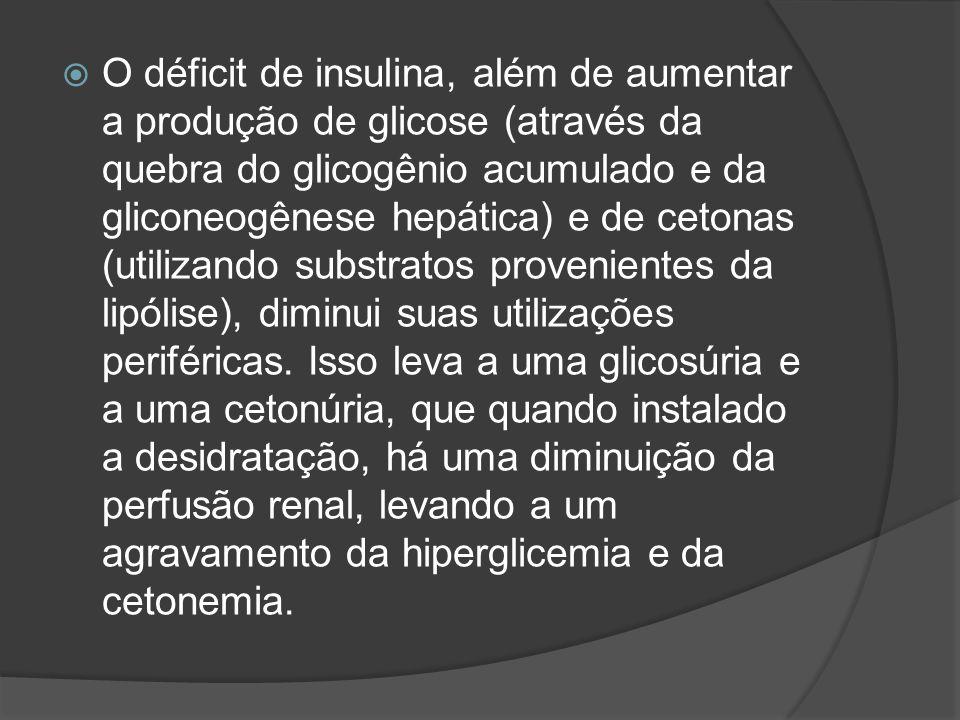 O déficit de insulina, além de aumentar a produção de glicose (através da quebra do glicogênio acumulado e da gliconeogênese hepática) e de cetonas (utilizando substratos provenientes da lipólise), diminui suas utilizações periféricas.