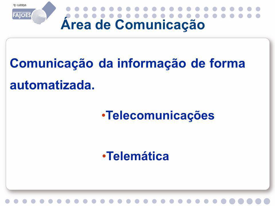 Área de Comunicação Comunicação da informação de forma automatizada.