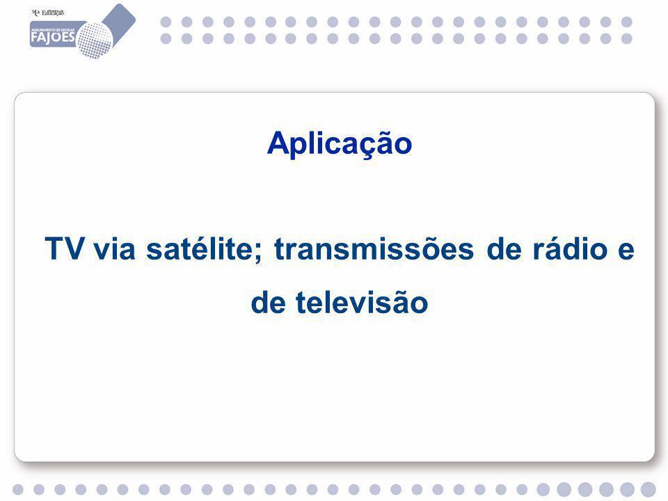 Aplicação TV via satélite; transmissões de rádio e de televisão