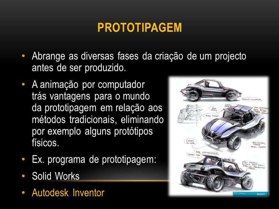 Prototipagem Abrange as diversas fases da criação de um projecto antes de ser produzido.