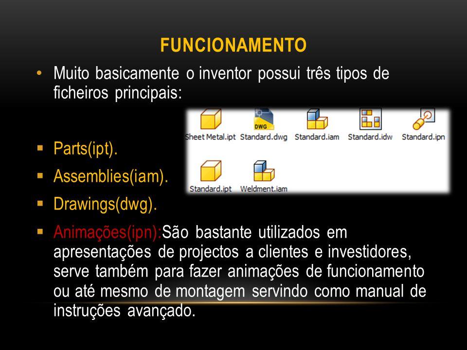 Funcionamento Muito basicamente o inventor possui três tipos de ficheiros principais: Parts(ipt).