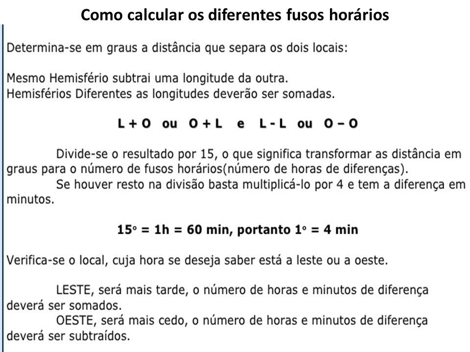 Como calcular os diferentes fusos horários
