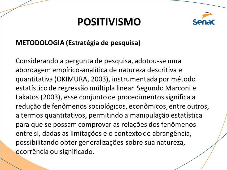 POSITIVISMO METODOLOGIA (Estratégia de pesquisa)