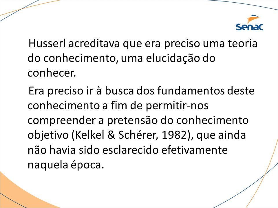 Husserl acreditava que era preciso uma teoria do conhecimento, uma elucidação do conhecer.