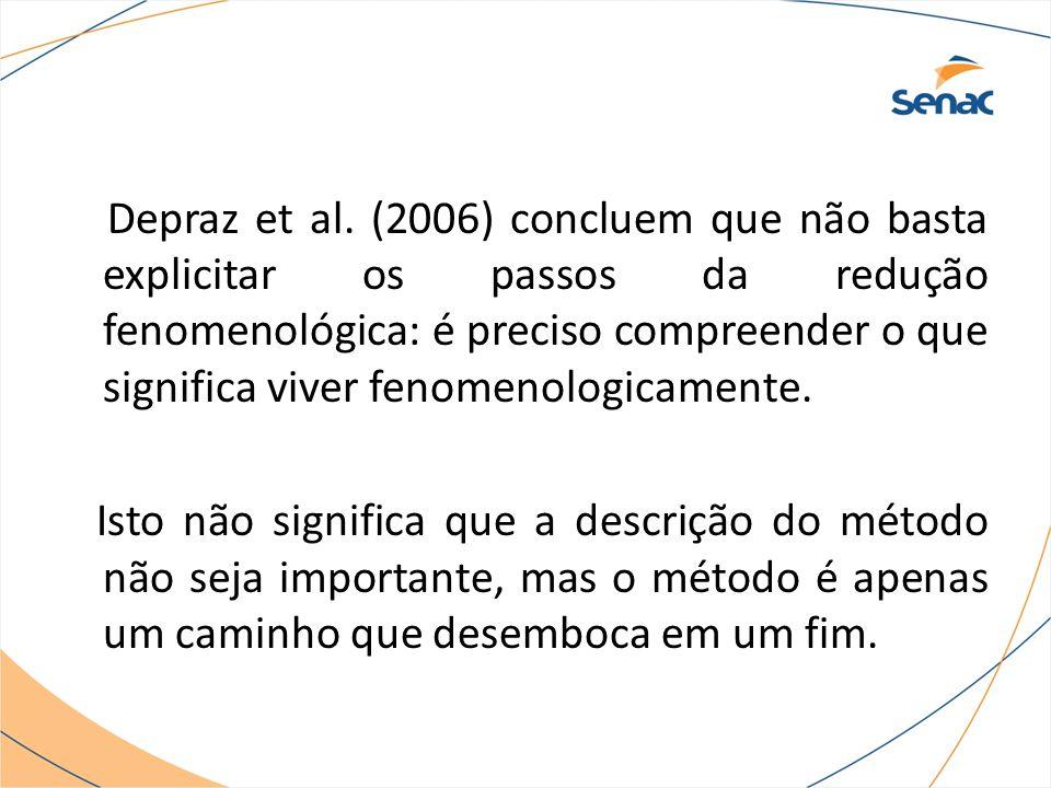 Depraz et al. (2006) concluem que não basta explicitar os passos da redução fenomenológica: é preciso compreender o que significa viver fenomenologicamente.
