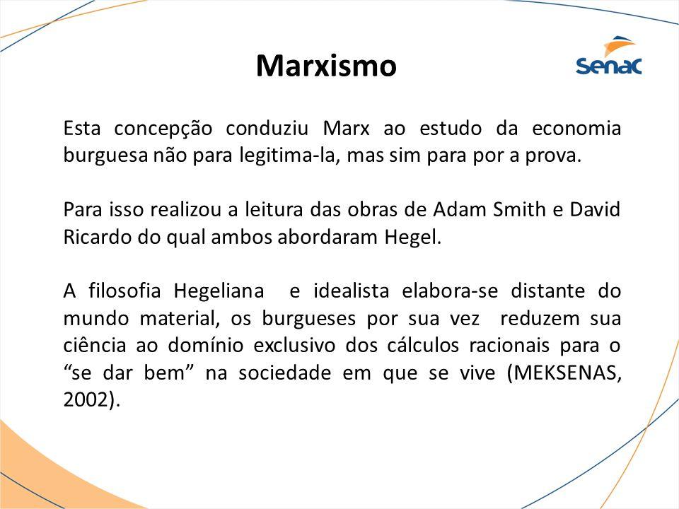 Marxismo Esta concepção conduziu Marx ao estudo da economia burguesa não para legitima-la, mas sim para por a prova.