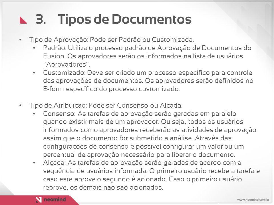 Tipos de Documentos Tipo de Aprovação: Pode ser Padrão ou Customizada.