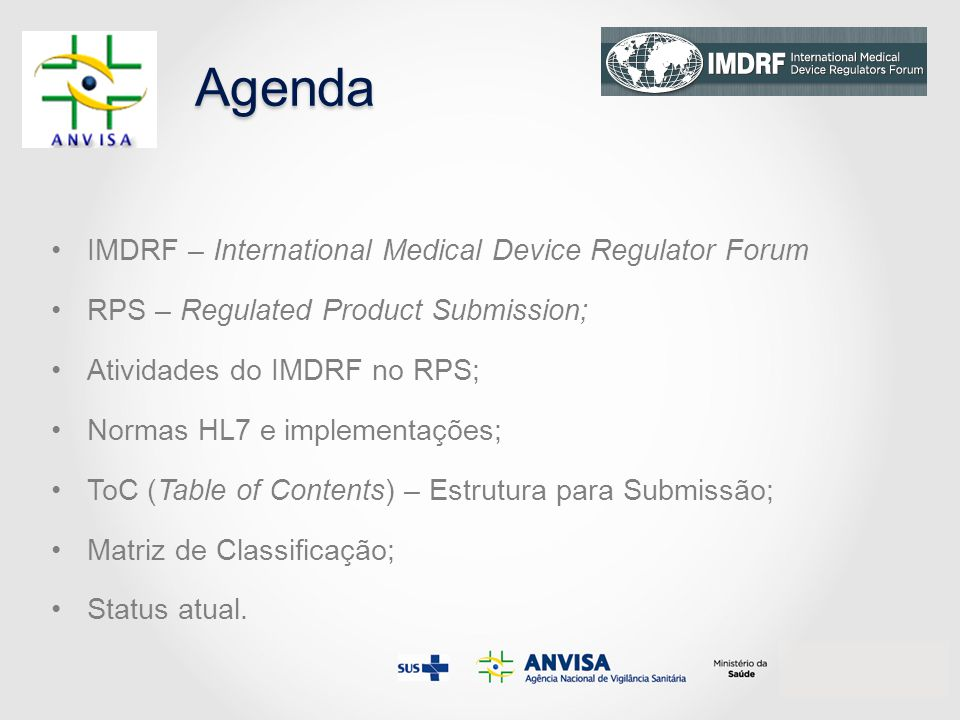 Agenda IMDRF – International Medical Device Regulator Forum