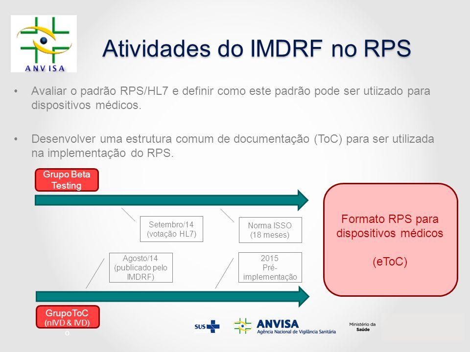 Atividades do IMDRF no RPS
