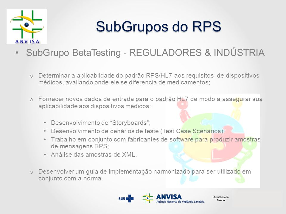 SubGrupos do RPS SubGrupo BetaTesting - REGULADORES & INDÚSTRIA