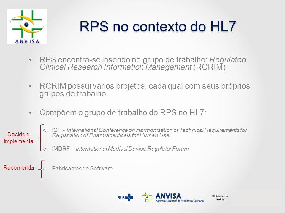 RPS no contexto do HL7 RPS encontra-se inserido no grupo de trabalho: Regulated Clinical Research Information Management (RCRIM)