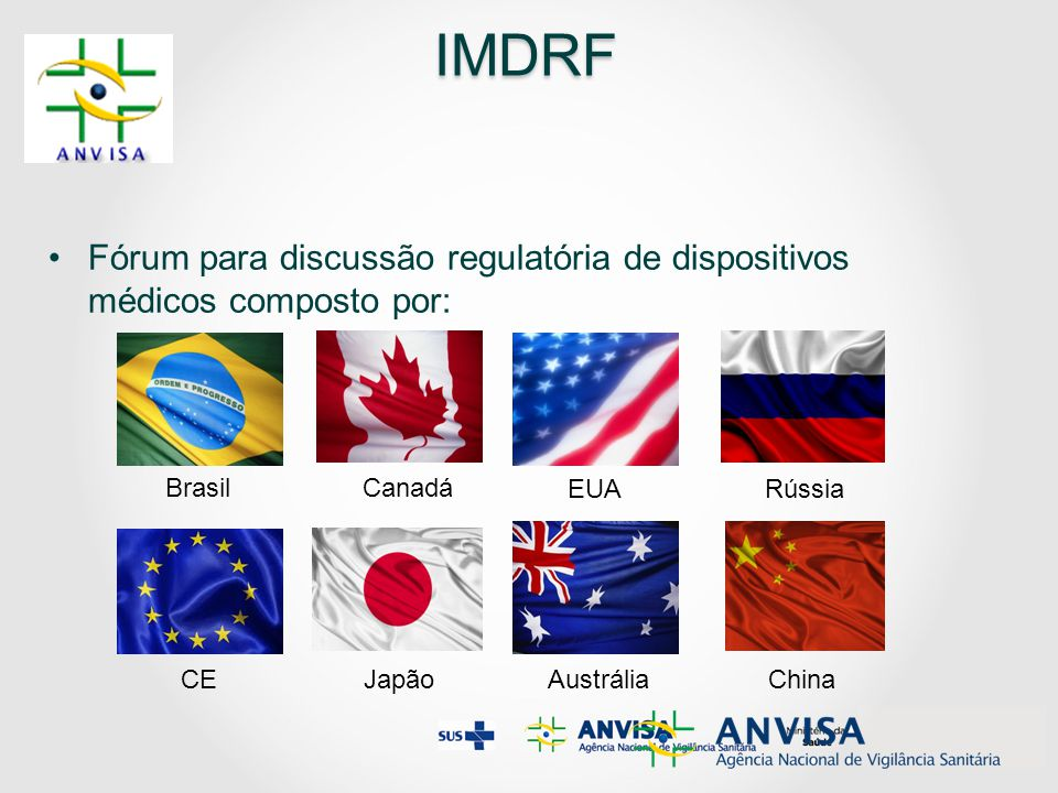 IMDRF Fórum para discussão regulatória de dispositivos médicos composto por: Brasil. Canadá. EUA.