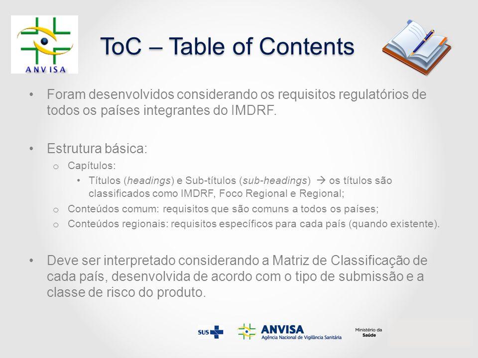 ToC – Table of Contents Foram desenvolvidos considerando os requisitos regulatórios de todos os países integrantes do IMDRF.