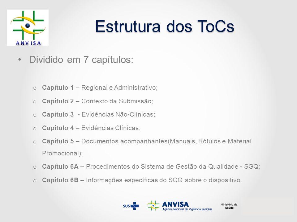 Estrutura dos ToCs Dividido em 7 capítulos: