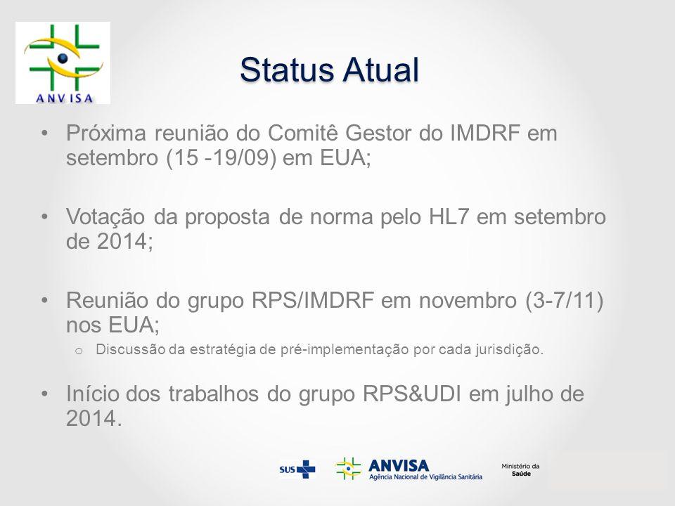 Status Atual Próxima reunião do Comitê Gestor do IMDRF em setembro (15 -19/09) em EUA; Votação da proposta de norma pelo HL7 em setembro de 2014;