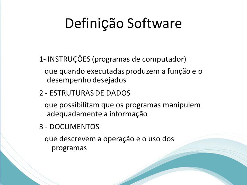 Definição Software 1- INSTRUÇÕES (programas de computador)