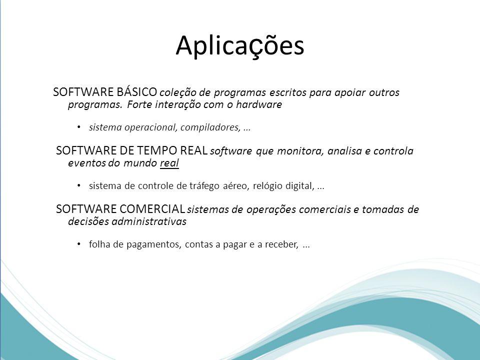 Aplicações SOFTWARE BÁSICO coleção de programas escritos para apoiar outros programas. Forte interação com o hardware.