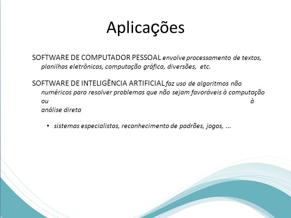 Aplicações SOFTWARE DE COMPUTADOR PESSOAL envolve processamento de textos, planilhas eletrônicas, computação gráfica, diversões, etc.