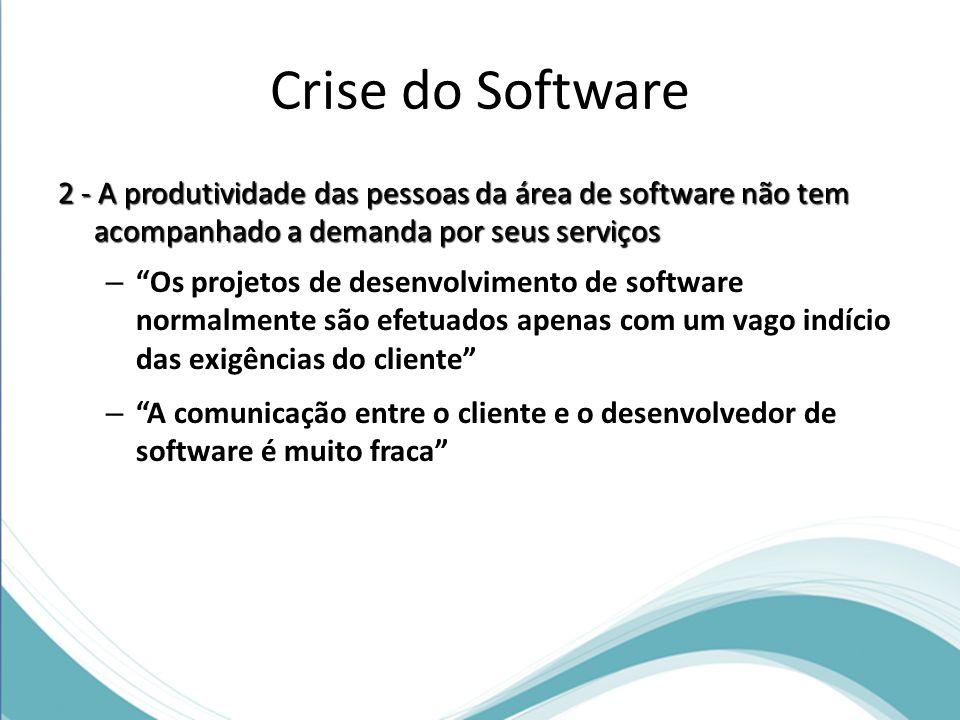 Crise do Software 2 - A produtividade das pessoas da área de software não tem acompanhado a demanda por seus serviços.