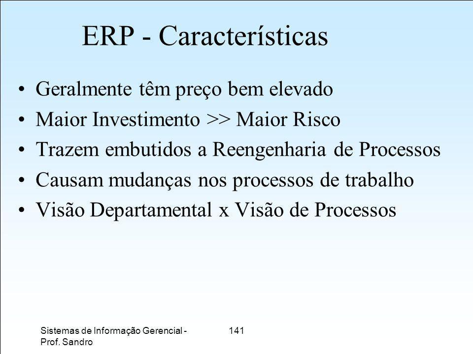ERP - Características Geralmente têm preço bem elevado