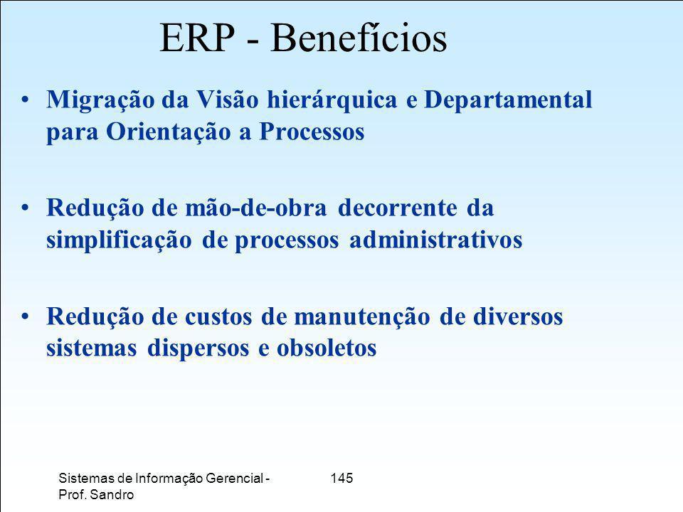 ERP - Benefícios Migração da Visão hierárquica e Departamental para Orientação a Processos.