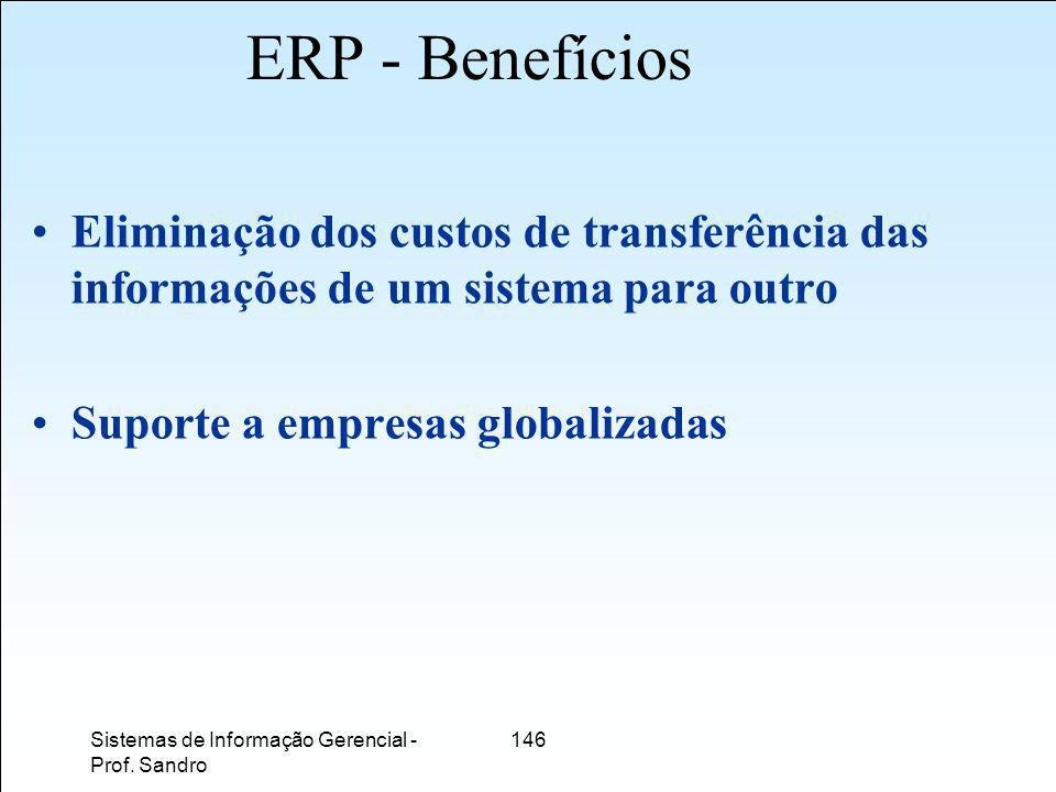 ERP - Benefícios Eliminação dos custos de transferência das informações de um sistema para outro. Suporte a empresas globalizadas.