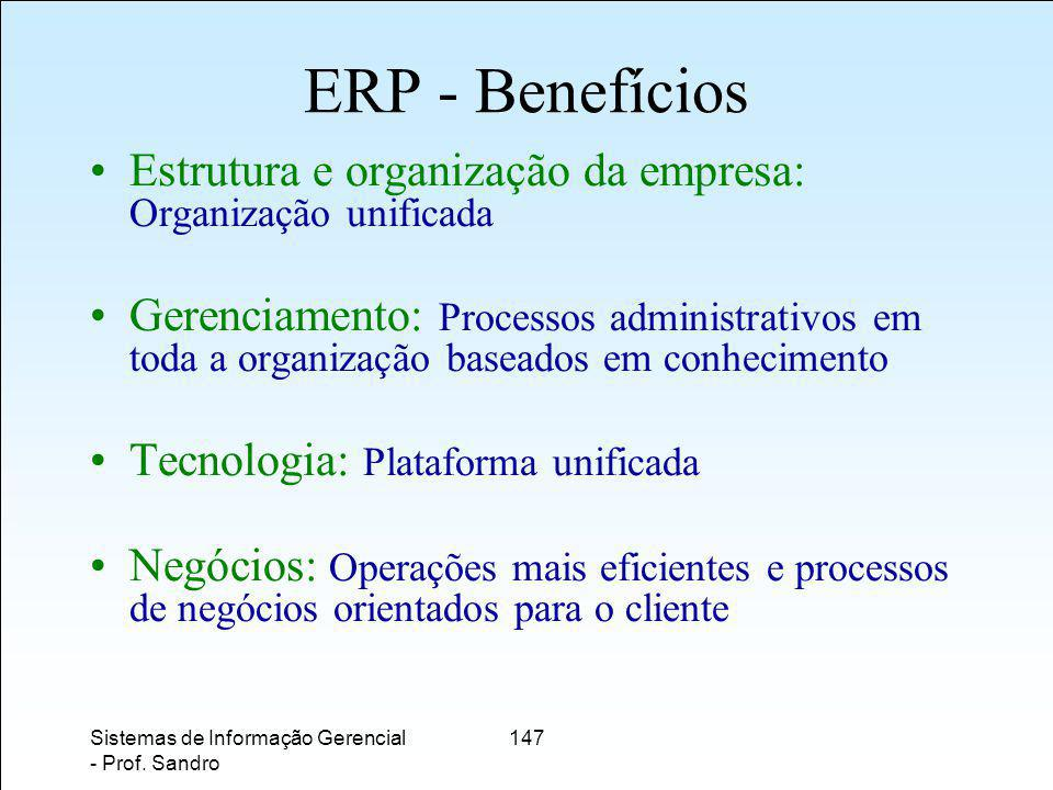 ERP - Benefícios Estrutura e organização da empresa: Organização unificada.