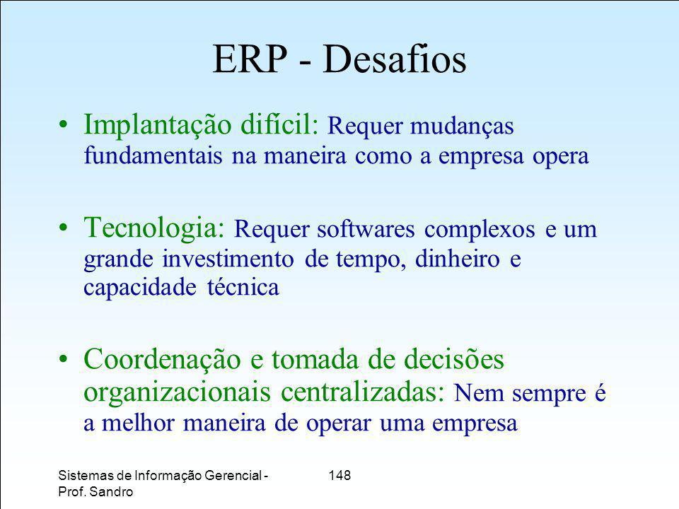 ERP - Desafios Implantação difícil: Requer mudanças fundamentais na maneira como a empresa opera.