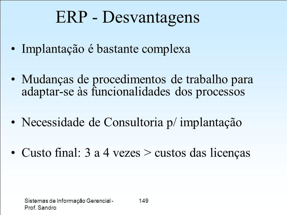 ERP - Desvantagens Implantação é bastante complexa