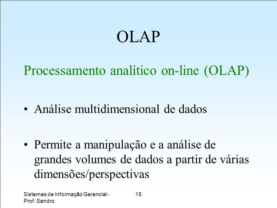 OLAP Processamento analítico on-line (OLAP)