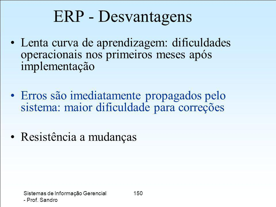 ERP - Desvantagens Lenta curva de aprendizagem: dificuldades operacionais nos primeiros meses após implementação.