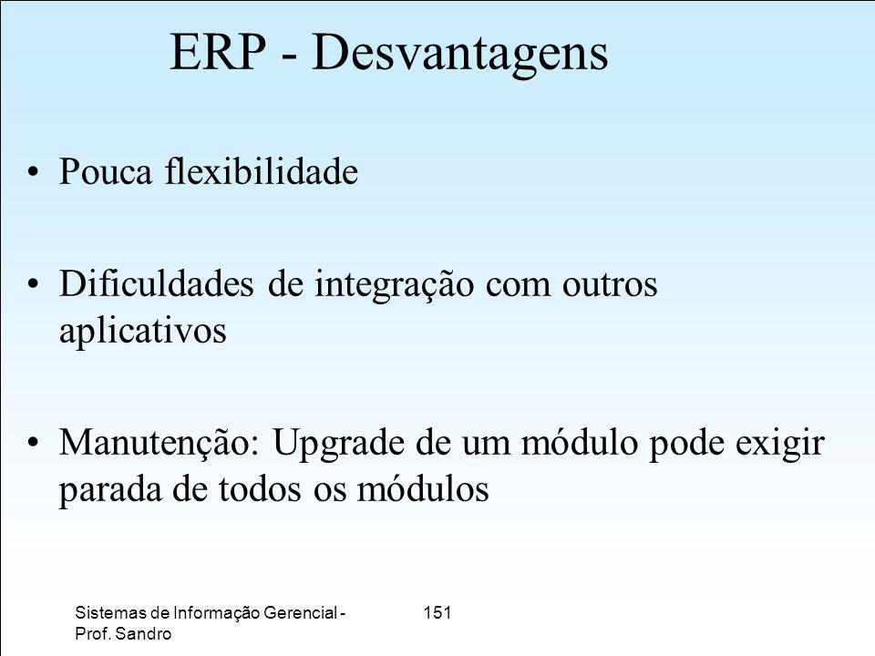 ERP - Desvantagens Pouca flexibilidade