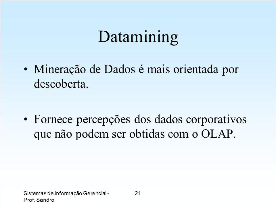 Datamining Mineração de Dados é mais orientada por descoberta.