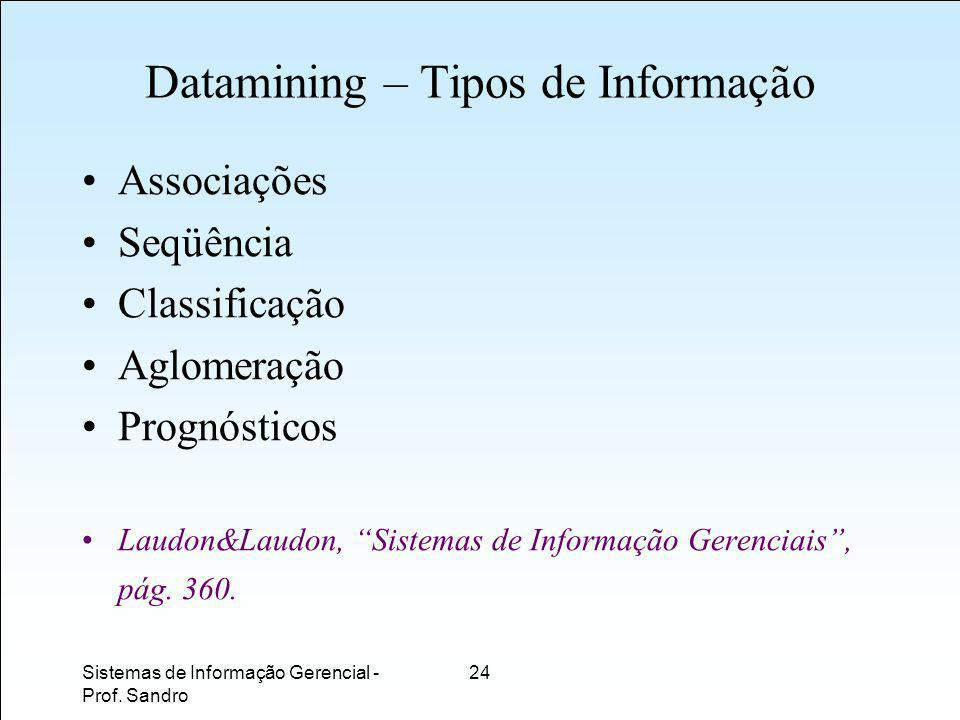 Datamining – Tipos de Informação