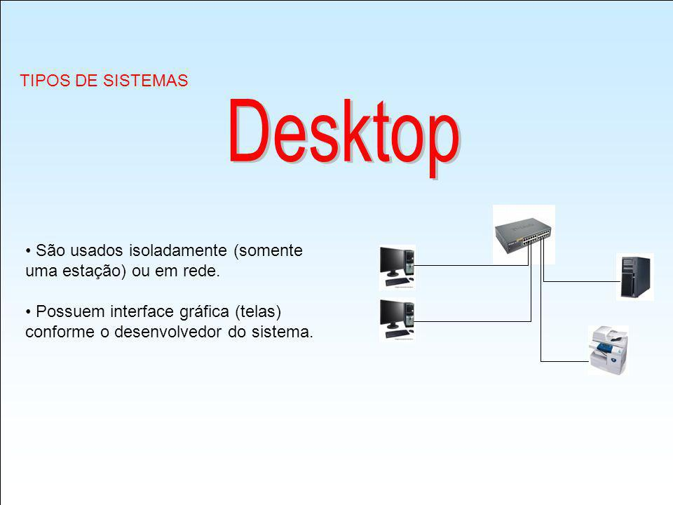 Desktop TIPOS DE SISTEMAS São usados isoladamente (somente