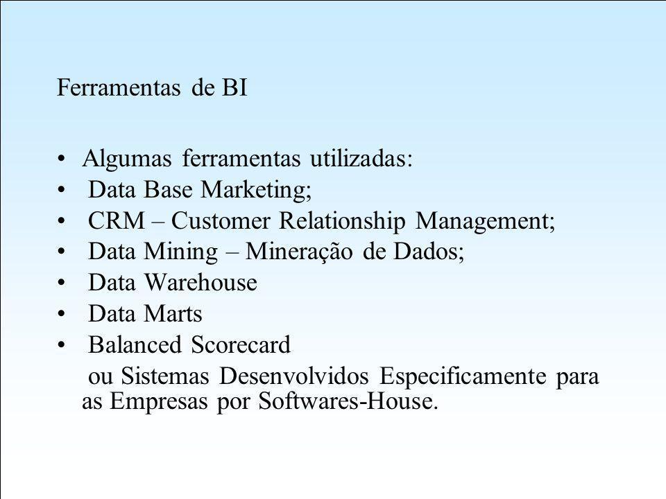 Ferramentas de BI Algumas ferramentas utilizadas: Data Base Marketing; CRM – Customer Relationship Management;