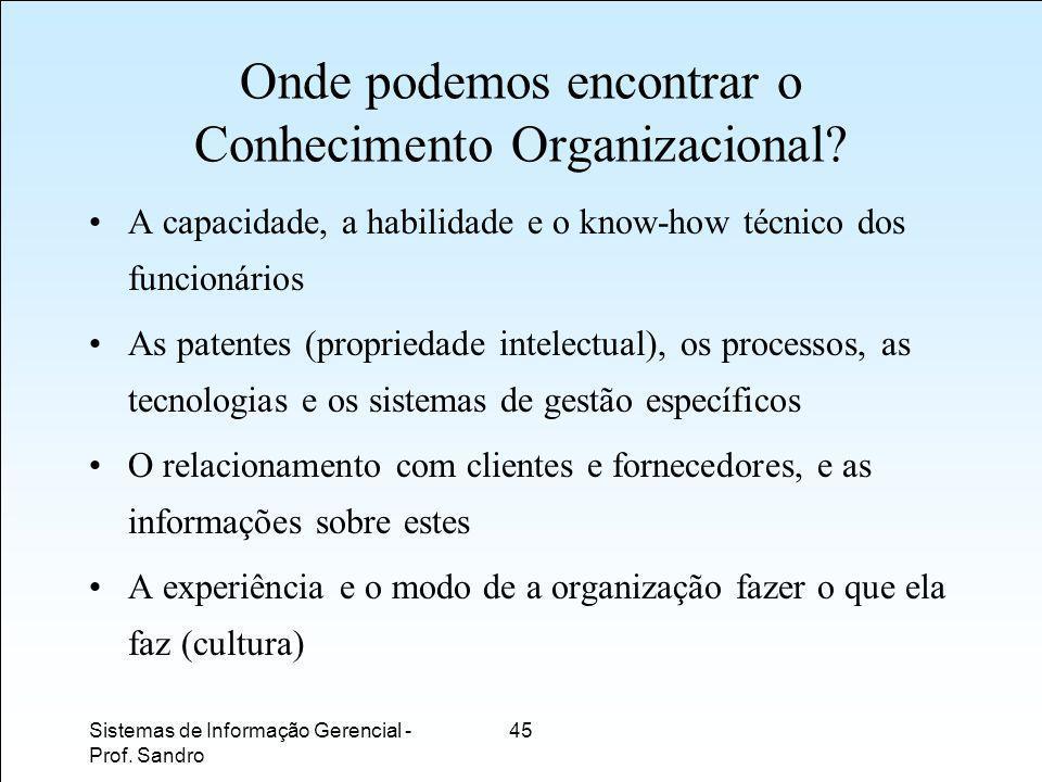 Onde podemos encontrar o Conhecimento Organizacional